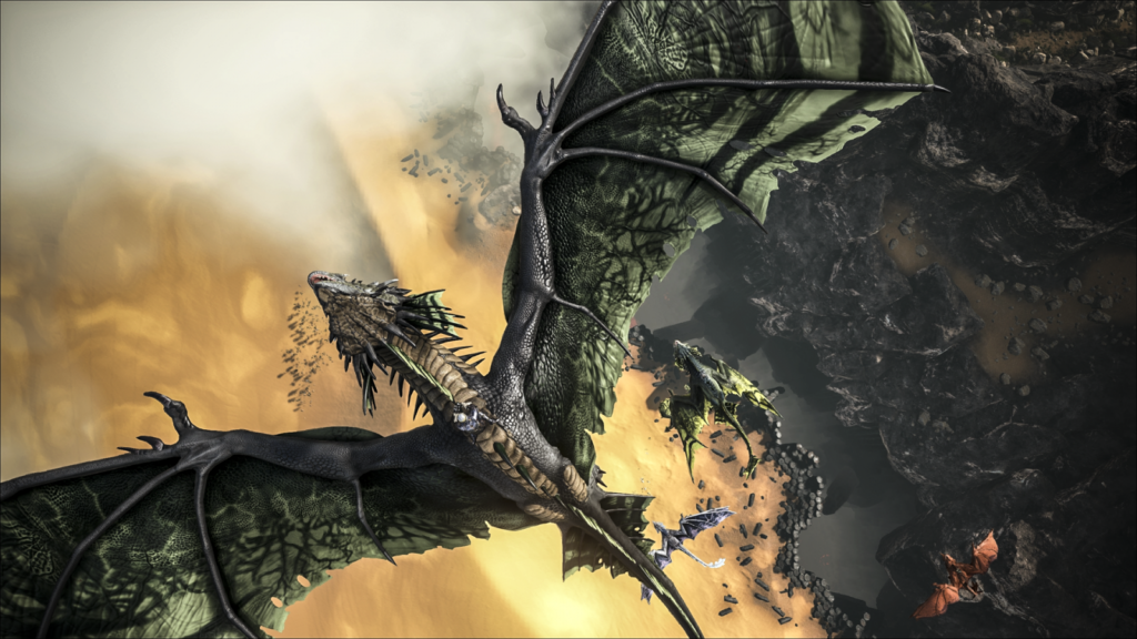 Mountable dragons easily destroy enemies and other foes
